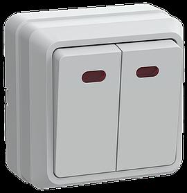 Выключатель ВС20-2-1-ОБ 2 клавишный с индикацией 10А ОКТАВА (белый) ИЭК
