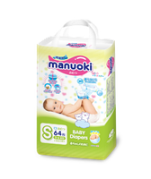 Подгузники Manuoki S (3-6kg) 64 штук