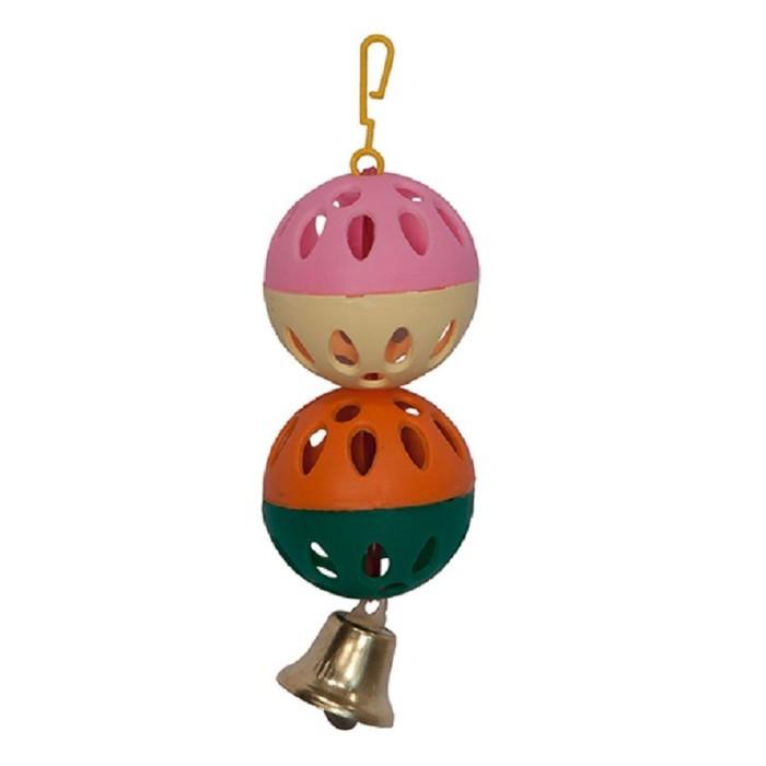 Игрушка для птиц 2 шарика с колокольчиком