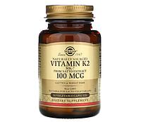 Solgar, натуральный витамин K2, 100 мкг, 50 растительных капсул