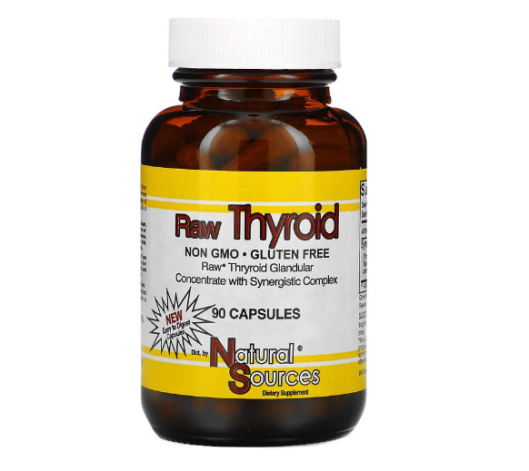 Natural Sources, Raw Thyroid, 90 капсул