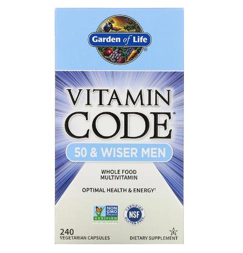 Garden of Life, Vitamin Code, мультивитамины из цельных продуктов для мужчин от 50 лет, 240 вегетарианских кап