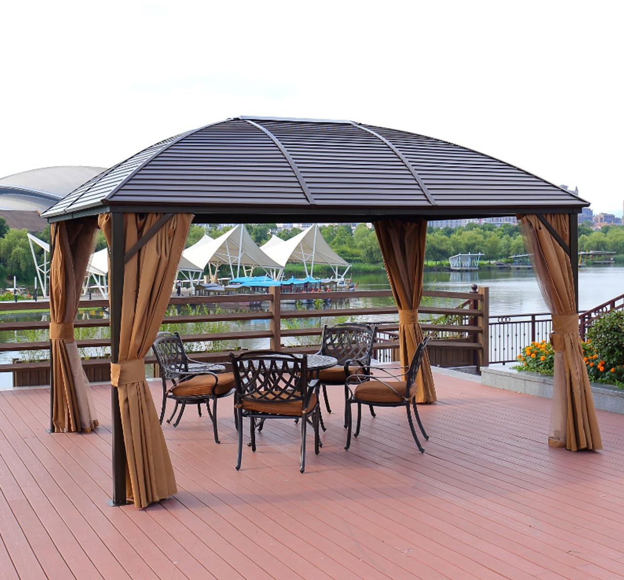 Шатер ЭЛИТ со стальной крышей и боковыми стенками + москитная сетка  (3х4м)