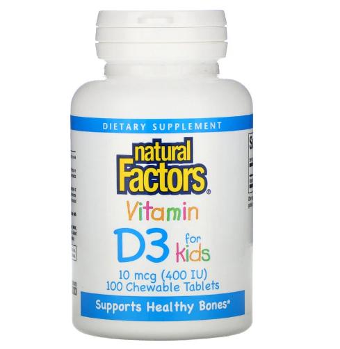 Natural Factors, витамин D3, клубничный вкус, 10 мкг (400 МЕ), 100 жевательных таблеток