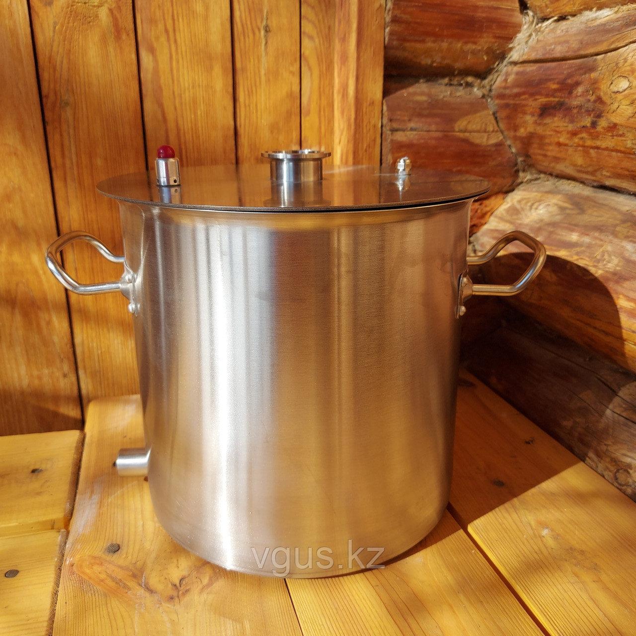 Перегонный куб 12 литров с крышкой , прокладкой и хомутом в комплекте. С ввареным штуцером для слива барды 1/2