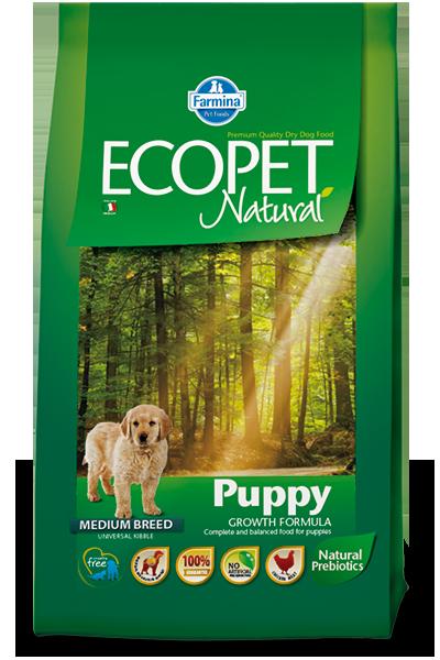 Puppy Medium для щенков средних пород с курицей, Ecopet, уп.12 кг.