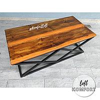 Журнальный стол-река с оранжевой перламутровой заливкой