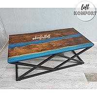 Журнальный стол-река с синей перламутровой заливкой