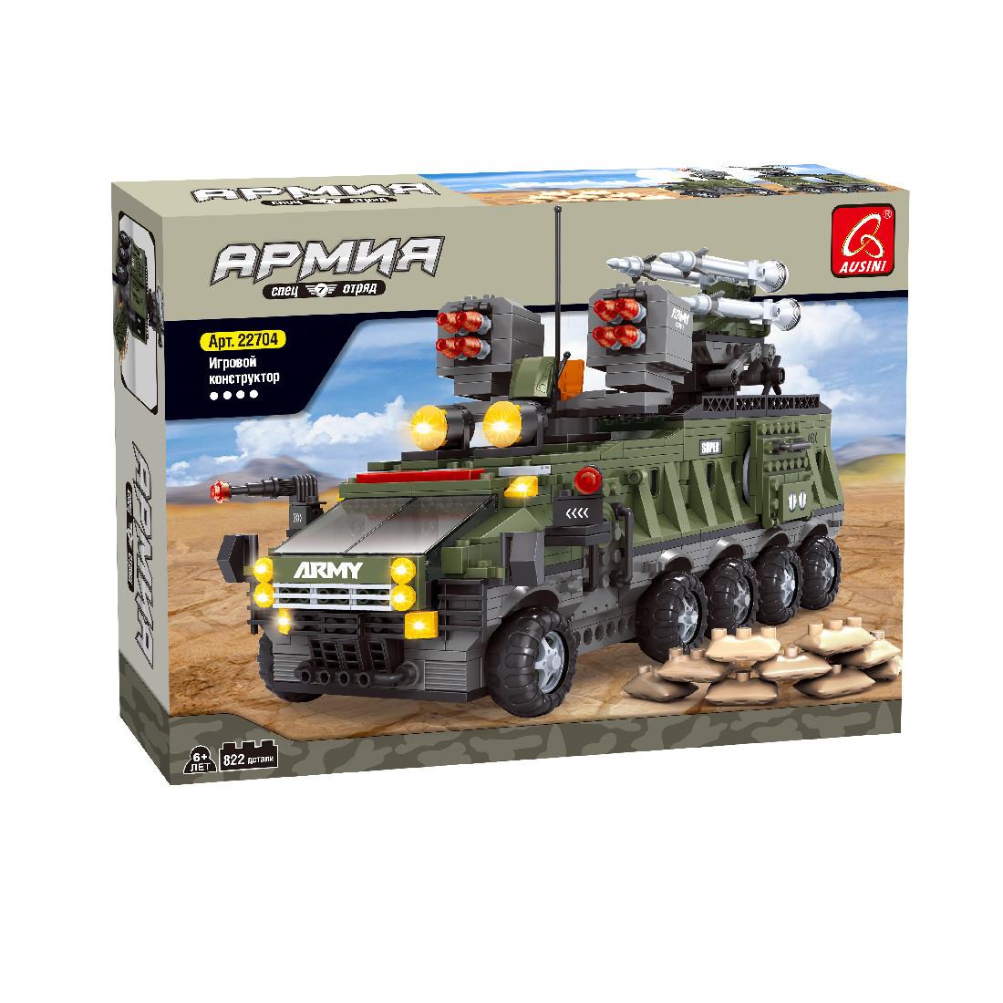 Игровой конструктор Ausini 22704 Армия Зенитная мобильная ракетная установка 822 детали Цветная коробка