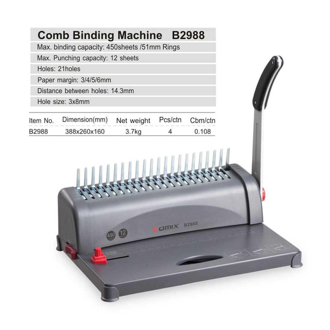 Переплётная машина на пластиковую пружину COMIX B2988, 450л./51мм.