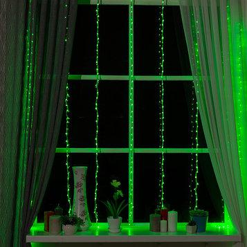 """Гирлянда """"Водопад"""" 2 х 1.5 м , IP20, прозрачная нить, 400 LED, свечение зелёное, 8 режимов, 220 В"""