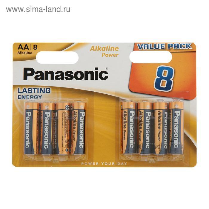 Батарейка алкалиновая Panasonic Alkaline Power, AA, R06-8BL, 1.5В, блистер, 8 шт. - фото 1