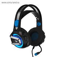 Наушники Crown CMGH-3101, игровые, полноразмерные, звук 7.1, вибрация, 3.2 м, чёрно-синие