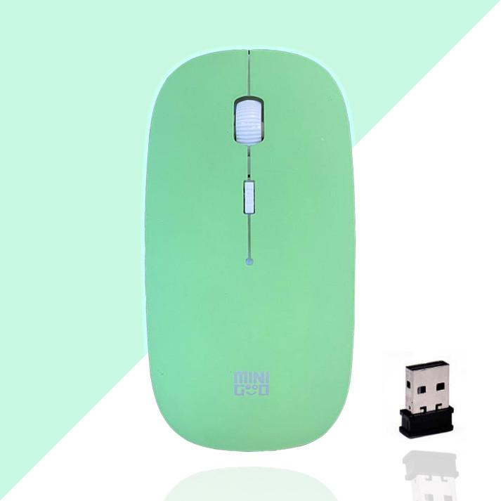 Компьютерная мышь беспроводная оптическая тонкая 1600 dpi USB Mini Good Wireless Mouse зеленая - фото 1