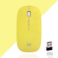 Компьютерная мышь беспроводная оптическая тонкая 1600 dpi USB Mini Good Wireless Mouse желтая