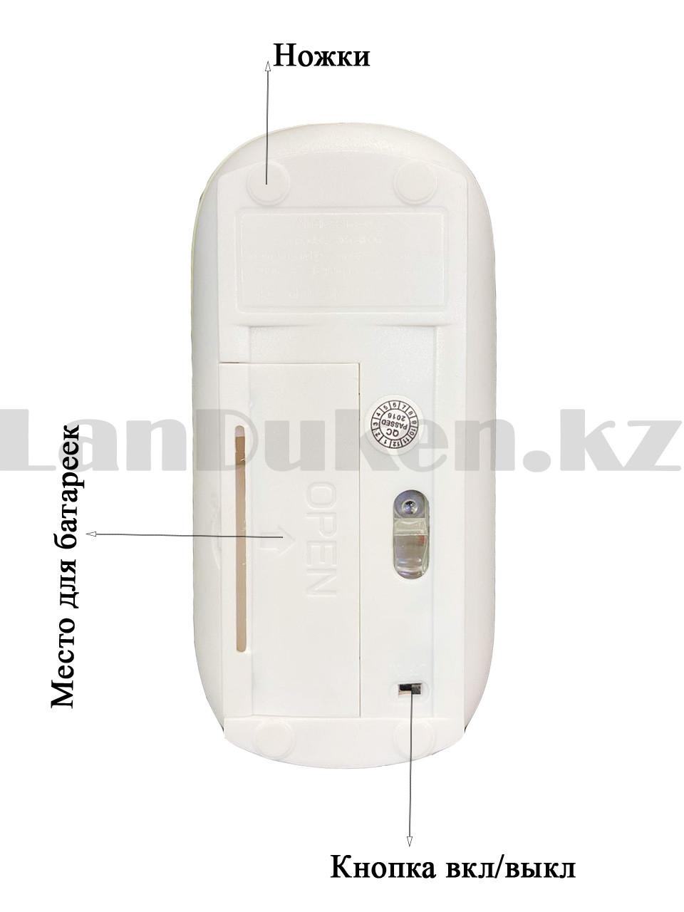 Компьютерная мышь беспроводная оптическая тонкая 1600 dpi USB Mini Good Wireless Mouse зеленая - фото 4