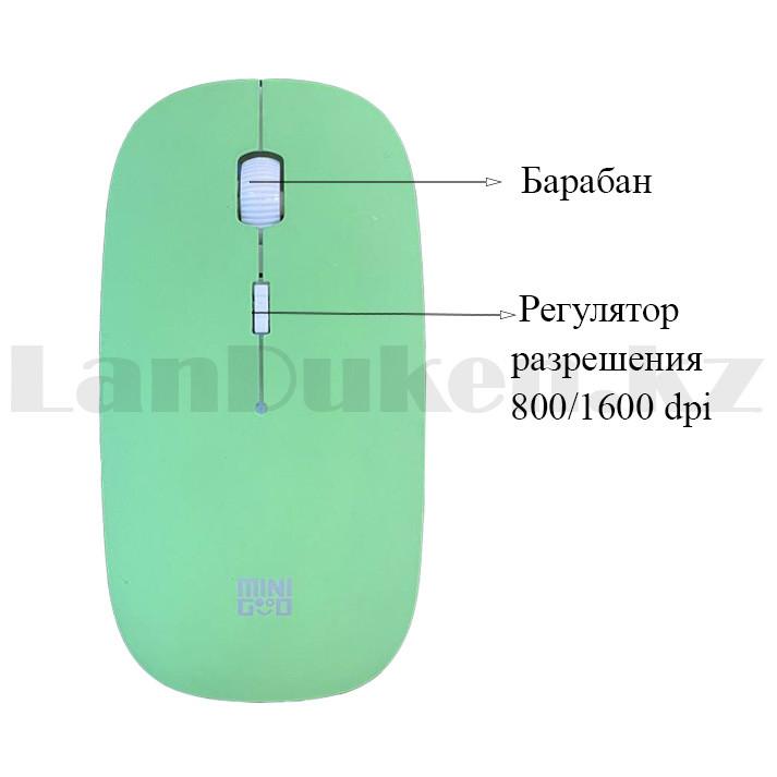 Компьютерная мышь беспроводная оптическая тонкая 1600 dpi USB Mini Good Wireless Mouse зеленая - фото 5