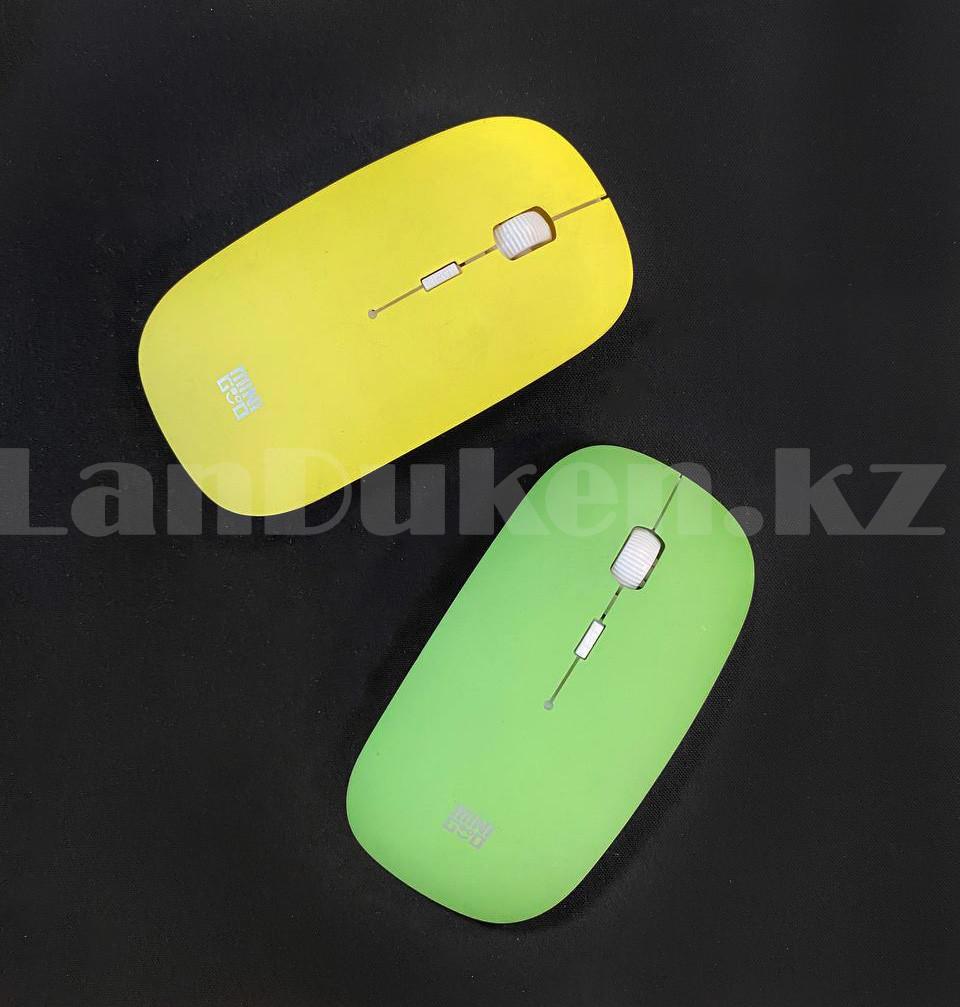 Компьютерная мышь беспроводная оптическая тонкая 1600 dpi USB Mini Good Wireless Mouse зеленая - фото 7