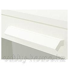 БРИМНЭС Комод с 4 ящиками, (белый, чёрный) матовое стекло, 78x124 см, фото 2