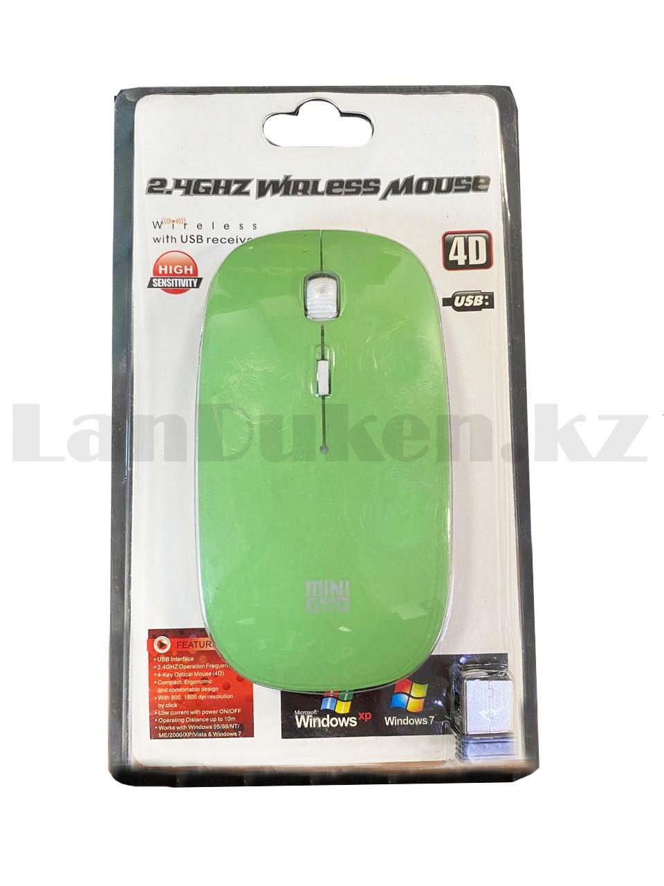 Компьютерная мышь беспроводная оптическая тонкая 1600 dpi USB Mini Good Wireless Mouse зеленая - фото 10