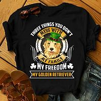 "Футболка с принтом ""Three things you don't mess with my family, my freedom, my Golden retriever"""