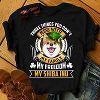 """Футболка с принтом """"Three things you don't mess with my family, my freedom, my Shiba inu"""""""