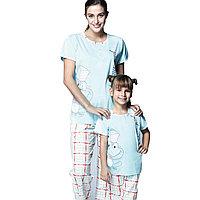 Пижама детская девичья 5/110 см, Голубой