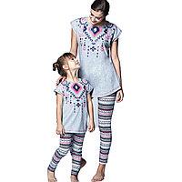 Пижама детская девичья 116 см/6 лет - Серый