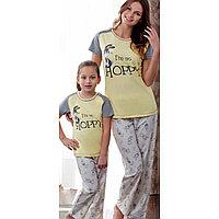 Пижама детская девичья 7-122 см, Желтый