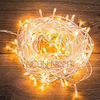 """Световая гирлянда """"Нить"""" (""""Твинкл лайт"""") - 10 метров, 80 лампочек, теплый-белый свет, мерцающая"""