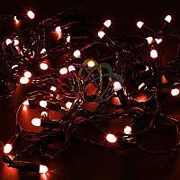 """Уличная гирлянда """"Нить"""" - 10 метров, 100 LED лампочек, красный свет, светит постоянно"""
