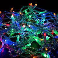 """Уличная гирлянда """"Нить"""" - 10 метров, 100 LED лампочек, разноцветный свет, светит постоянно"""