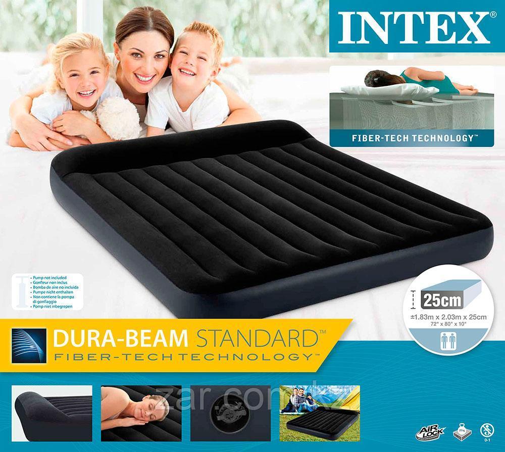 Надувной матрас Intex 64144  203*183*25 см с подголовником