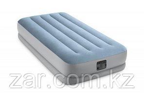 Надувная кровать intex 64166 99х191х36см  с подголовником, встр.нас. 220В