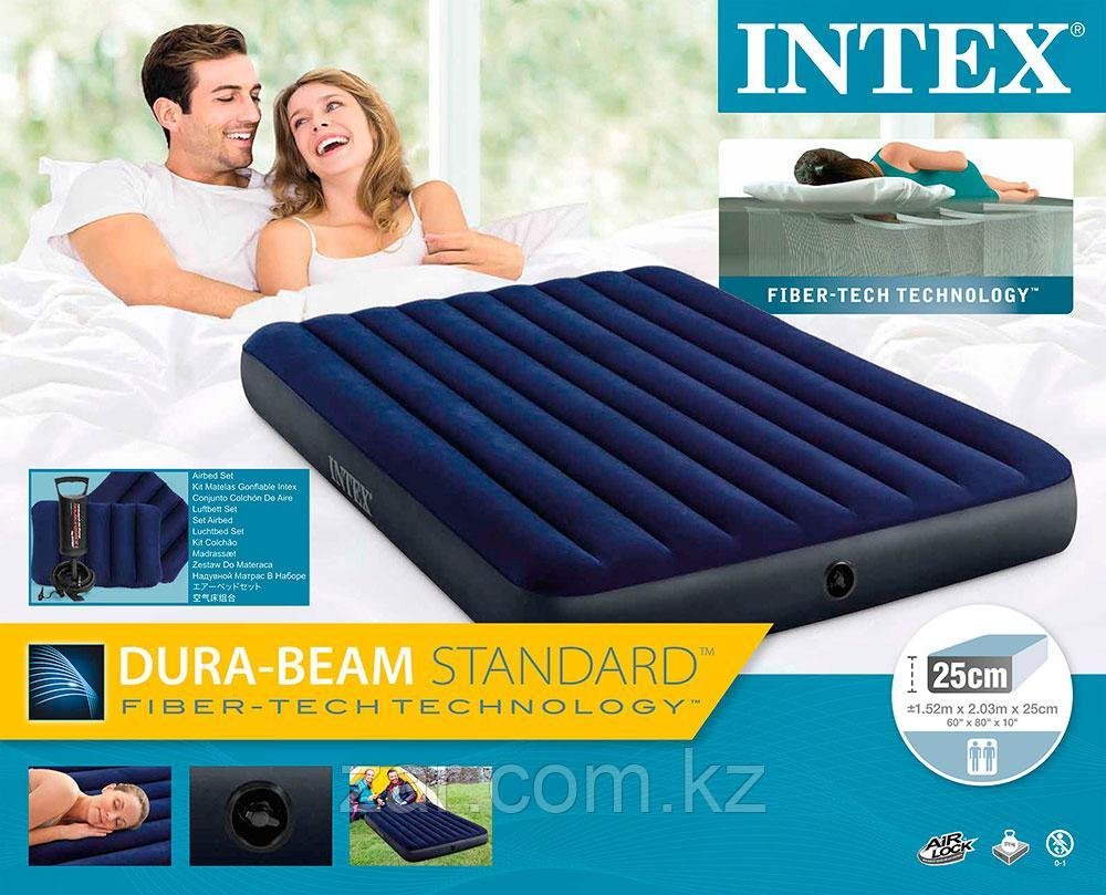 Надувной матрас Intex 64765 + 2 подушки, насос (203*152*22 см)
