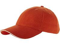 Бейсболка Challenge 6-ти панельная, оранжевый/натуральный