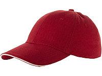 Бейсболка Challenge 6-ти панельная, красный/натуральный