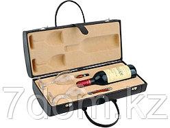 Тубус для вина с винными аксессуарами Рислинг, коричневый