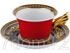 Чайная пара Versace Medusa, красный/золотистый