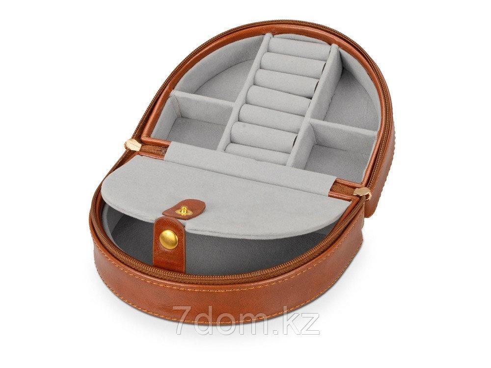 Шкатулка для драгоценностей с дорожным футляром, коричневый - фото 4