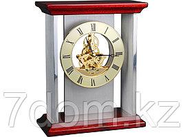 Часы настольные Статус, серебристый/золотистый/красное дерево