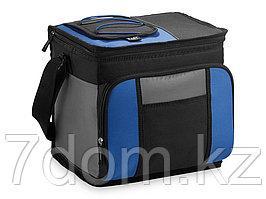 Сумка-холодильник на 24 банки с удобным карманом, ярко-синий/черный/серый