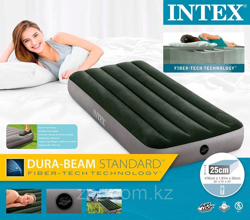 Надувной матрас Intex 64760 76х191х25см, встр. ножной насос