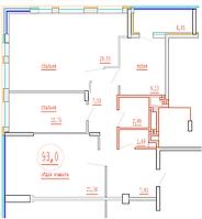 3 комнатная квартира в ЖК Кристалл 2 93 м²