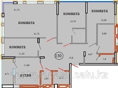 4 комнатная квартира в ЖК Кристалл 2 130 м²