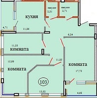 4 комнатная квартира в ЖК Кристалл 2 103 м²