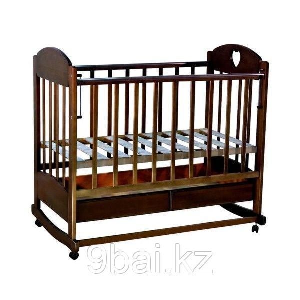 ВЕДРУС Кровать детская ИРИШКА 2 (ящик колесо/качалка накладка сердечко) Темный орех