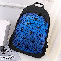 Городской рюкзак светоотражающий геометрический 0212 синий