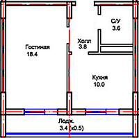 """1 ком в ЖК """"Самгау City"""" 39.2 м²"""