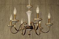 Люстра подвесная на 8 ламп, цоколь Е14, цвет бело-золотой, фото 1
